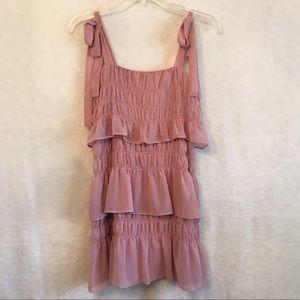 Tularosa Pink Ruffle Dress Tie Strap XS